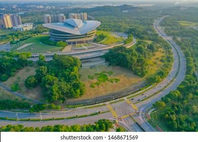 Putrajaya, Malaysia, July 2019: Aerial View Of Putrajaya International Convention Centre With Street View