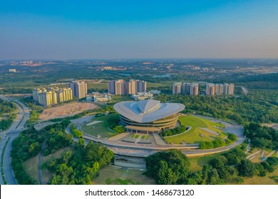 Putrajaya, Malaysia, July 2019: Aerial View Of Putrajaya International Convention Centre With Sunset Glow And High Rise Residence
