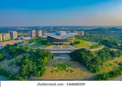 Putrajaya, Malaysia, July 2019: Aerial View Of Putrajaya International Convention Centre With Beautiful Blue Sky