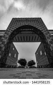 Putrajaya, Malaysia - July 2019.a black and white photo of a big metal archways of the Perbadanan Putrajaya or Putrajaya Corporation, the authority that administers the Federal Territory of Putrajaya.