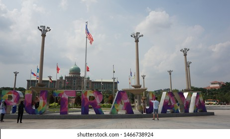 Putrajaya, Malaysia. July 29th, 2019: The Putrajaya sign is the latest landmark at the federal government's administrative center of Malaysia.