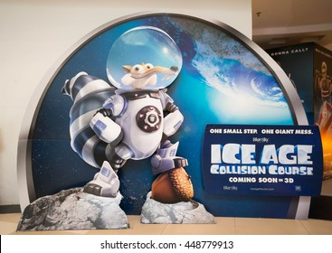 PUTRAJAYA, MALAYSIA - July 5, 2016: Ice Age: Collision Course poster displayed at Alamanda Putrajaya Mall. Its the fifth installment in the Ice Age film scheduled for release on July 22, 2016.