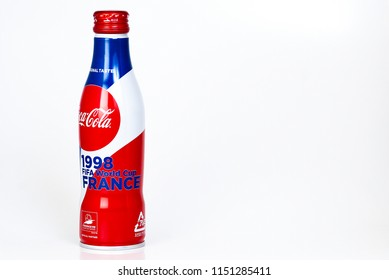 PUTRAJAYA / MALAYSIA - JULY 5TH 2018: A COLLECTABLE COCA COLA WORLD CUP EDITION ON ISOLATED WHITE BACKGROUND