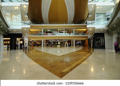 PUTRAJAYA, MALAYSIA -JUNE 01, 2018: Interior of IOI shopping mall in Putrajaya, Malaysia. It is one of the largest shopping mall im Malaysia.