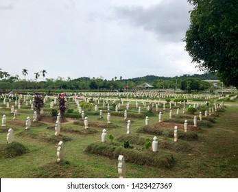 Putrajaya, Malaysia - June 2019. Muslim Cemetery in Putrajaya, Malaysia. Resting place for the deceased muslims