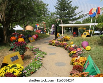 PUTRAJAYA, MALAYSIA - JUNE 27: Creative flower and garden arrangement by Pullman Hotel at Royal Floria Putrajaya in Putrajaya on June 27, 2018.