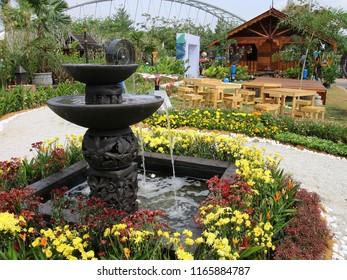 PUTRAJAYA, MALAYSIA - JUNE 27: Creative flower and garden arrangement by Ministry of Tourism Malaysia at Royal Floria Putrajaya in Putrajaya on June 27, 2018.