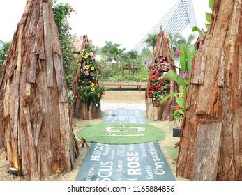 PUTRAJAYA, MALAYSIA - JUNE 27: Creative flower and garden arrangement by Zamaruddin Beran at Royal Floria Putrajaya in Putrajaya on June 27, 2018. Win silver award in the designer category.