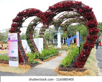 PUTRAJAYA, MALAYSIA - JUNE 27: Creative flower and garden arrangement by Putrajaya Holding at Royal Floria Putrajaya in Putrajaya on June 27, 2018.