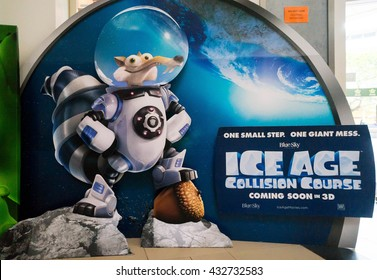 PUTRAJAYA, MALAYSIA - June 4, 2016: Ice Age: Collision Course poster displayed at Alamanda Putrajaya Mall. Its the fifth installment in the Ice Age film scheduled for release on July 22, 2016.