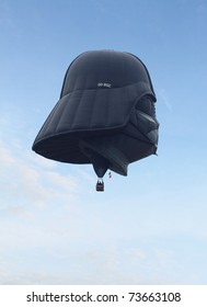"PUTRAJAYA, MALAYSIA - MARCH 19: ""Dark Vader"" hot air balloon from Belgium in flight during the 3rd Putrajaya International Hot Air Balloon Fiesta 2011, held at Putrajaya, Malaysia on 19 March, 2011."