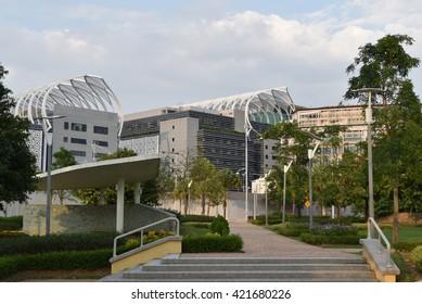 PUTRAJAYA, MALAYSIA - MARCH 27, 2016: Modern architecture design of federal administration building in Putrajaya, Malaysia