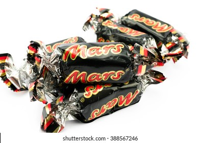 PUTRAJAYA, MALAYSIA- MARCH 7, 2016: Mars chocolate bar on white background. Mars bars are produced by Mars Incorporated. The first Mars bar was produced in England in 1932