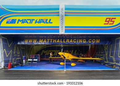 PUTRAJAYA, MALAYSIA - MAY 17, 2014: The MXS-R plane of Matt Hall of Australia parks at the hangar before the race during the Red Bull Air Race World Championship 2014 in Putrajaya, Malaysia.