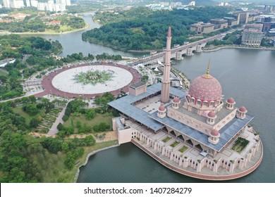 Putrajaya, Malaysia, May 24 2019 - Aerial View Of Putra Mosque Putrajaya with Putra Square And Beautiful Lake View