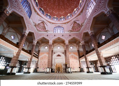 PUTRAJAYA, MALAYSIA, MAY 25, 2015 : Inside the Putra Mosque, It is constructed with rose-tinted granite and located in a popular touristic and administrative location.