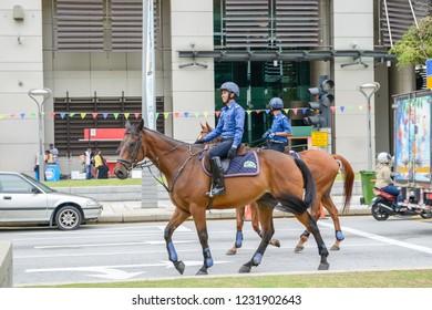 PUTRAJAYA , MALAYSIA - Nov 2018 : Putrajaya cavalry enforcement squad on stanby during youth event festival at Putrajaya Malaysia.