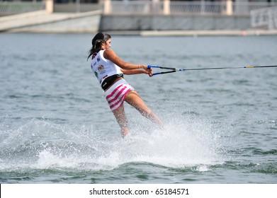 PUTRAJAYA, MALAYSIA - NOVEMBER 14: Sasha Christian in 2010 Malaysian WaterSki & WakeBoard Championship Round 4 - All Finals Wakeboard Women Open November 14, 2010 in Putrajaya, Malaysia.