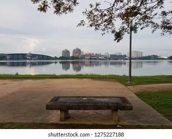 Putrajaya, Malaysia. November 4, 2018. Morning weekend scenery of Putrajaya Lake with Heriot Watt University, Pullman Putrajaya Lakeside and Marina Putrajaya on the background