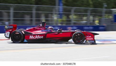 Putrajaya, Malaysia - November 7, 2015 : Jerome Ambrosio of Team Dragon Racing enters turn 2 at FIA Formula-e ePrix Championship Putrajaya, Malaysia