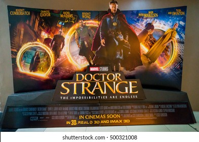 PUTRAJAYA, MALAYSIA - OCT 15, 2016 :  Doctor Strange movie poster. Doctor Strange is a 2016 American superhero film featuring the Marvel Comics character of the same name, produced by Marvel Studios