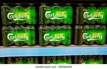 PUTRAJAYA, MALAYSIA - OCT 15, 2016 :  Beermats from Carlsberg beer.The Carlsberg is a Danish brewing company founded in 1847 by J. C. Jacobsen with headquarters located in Copenhagen,Denmark