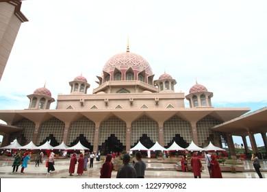 Putrajaya, Malaysia - Oct, 21 2018: Putrajaya Pink mosque tourist attraction place and prayer place for muslim