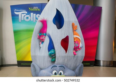PUTRAJAYA, MALAYSIA - OCT 23, 2016 : Trolls movie poster. Trolls is a 2016 American 3D computer-animated musical buddy comedy film based on the dolls of the same name by Thomas Dam