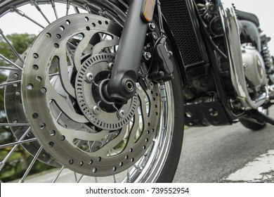 PUTRAJAYA, MALAYSIA - OCTOBER 20, 2017. Detail parts of Triumph Bonneville T120 motorcycle.