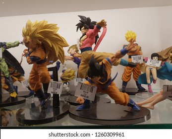 Putrajaya, Malaysia. October 28n 2018. Figurines from Dragon Ball comic's characters are on display glass at Animix Store, IOI City Mall Putrajaya.