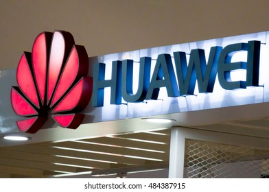 PUTRAJAYA, MALAYSIA - SEPTEMBER 11, 2016: Close up of the logo of Huawei Technologies Company. Huawei Is a Chinese multinational company headquartered in Guangdong.