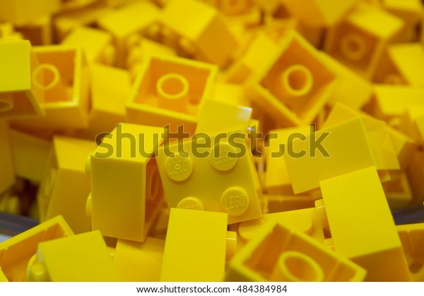 PUTRAJAYA, MALAYSIA - SEPTEMBER 11, 2016: Closeup of yellow LEGO blocks. Lego is a plastic construction toys that are manufactured by The Lego Group a company based in Billund, Denmark