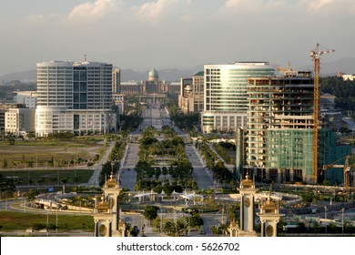 "Putrajaya overlooking the boulevard toward the prime minister's ""Putra Perdana"" office."