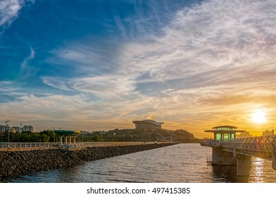 PUTRAJAYA,MALAYSIA - 12 Octorber 2016 - View Of Modern draw of tower Building and riprap  at Putrajaya during sunset. Putrajaya is the administrative capital of Malaysia