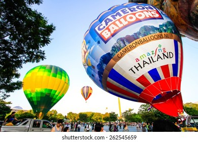 Putrajaya,Malaysia - March 13, 2015 : The hot air ballons flies to the sky during Putrajaya in The 7th Putrajaya International Hot Air Balloon Fiesta. Putrajaya,Malaysia.