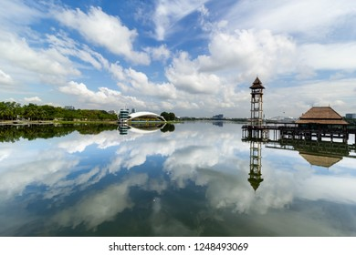 PUTRAJAYA,MALAYSIA-DECEMBER 2 2018: A serene view of lakeside pool from Pullman Putrajaya during bright day