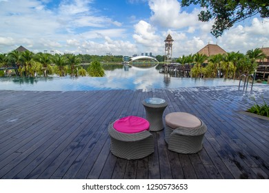 PUTRAJAYA,MALAYSIA-DECEMBER 2 2018:A beautiful view of marine park of Putrajaya from Pullman Lakeside resort during bright day