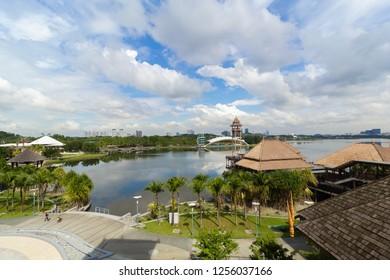 PUTRAJAYA,MALAYSIA-DECEMBER 2 2018:View of Putrajaya city from high building of Pullman Lakeside Putrajaya resort