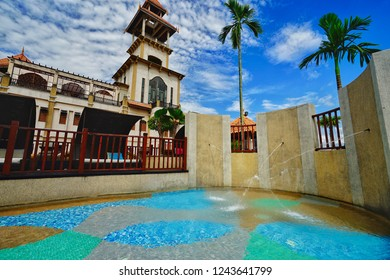 Putrajaya,Malaysia-November 24th,2018:Beautiful architectural design building of Pullman Putrajaya Lakeside hotel with small pool as foreground.This is one of the best 5 star hotel in Malaysia