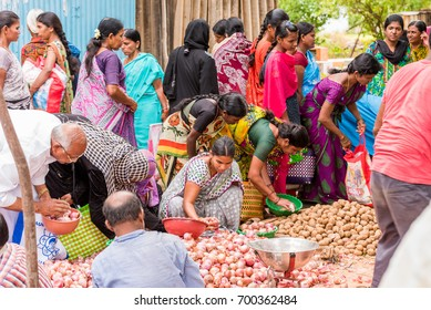 PUTTAPARTHI, ANDHRA PRADESH, INDIA - JULY 9, 2017: Indian market. Copy space for text