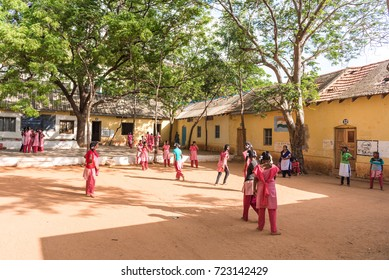 PUTTAPARTHI, ANDHRA PRADESH, INDIA - JULY 9, 2017: Group of indian schoolgirls. Copy space for text