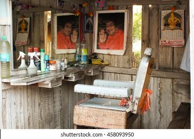PUTTAPARTHI, INDIA - JANUARY 1, 2015:  Traditional indian hairdressing salon in the holy city of Sri Sai Baba - Puttaparthi. South India.