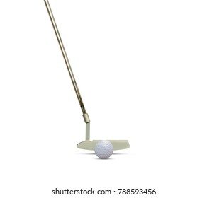Putter and golf ball isolated on white  background with space for text.