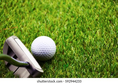 Putter and golf ball are on green grass