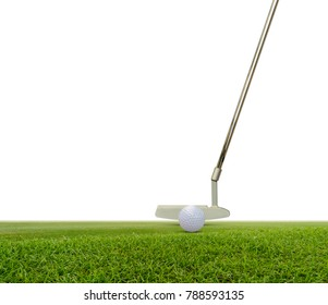 Putter and golf ball on green isolated on white  background with space for text.