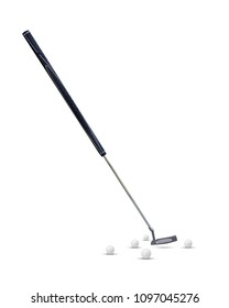 Putter golf ,long putter, belly putter and golf ball isolated on white background for present your products.