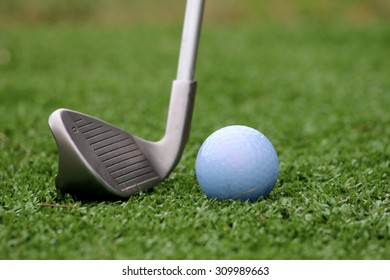 Putter and white golf ball on the green grass