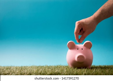 Putting coin into the piggy bank on green grass and blue sky