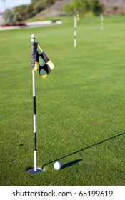 Putting Green with black flag
