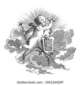 A putto seen diagonally from behind, flies through the air with a trumpet in the left hand and a coat of arms in the right.